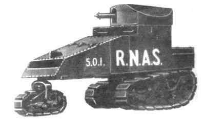 Рисунок запланированный Киллен-Штрайт гусеничной машины с башней для использования в RNAS 501 Арморед автомобиль Сквадрон
