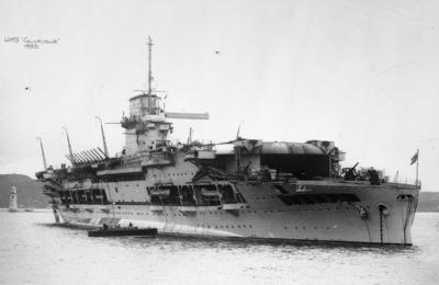 HMS Glorious dopo la conversione a portaerei