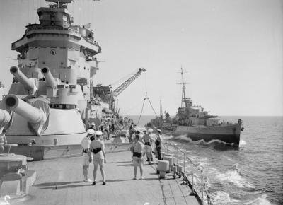 Vista del ponte dell'HMS Warspite del 3 luglio 1943