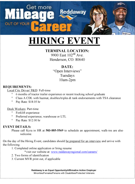 Hiring Event Local City Drivers Dock Workers