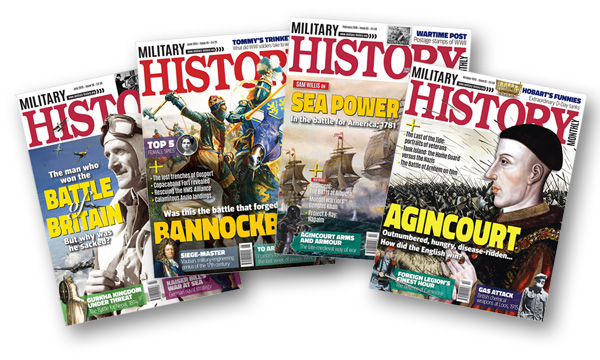 Four front covers of Military History Matters