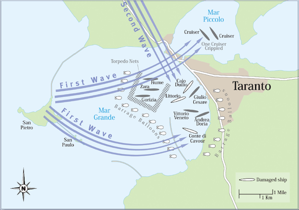 Map of Battle of Taranto 11th November 1940 Military History Monthly