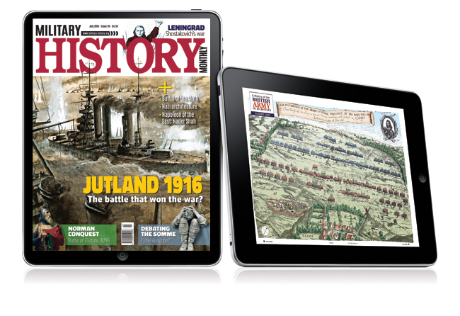 Military History Matters shown on a tablet screen - it is now available to read on desktop and mobile devices when you take out a digital subscription.