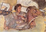 The Alexander Mosaic in the Naples National Archaeological Museum portrays a dashing image of Alexander the Great fighting the Persian king Darius III