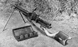 A Japanese Type 11 light machine gun and ammunition box