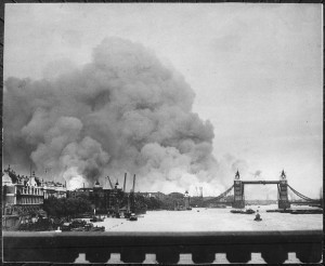 The scene in London's dock area, 7 September 1940. Tower Bridge stands out against a background of smoke and fires.