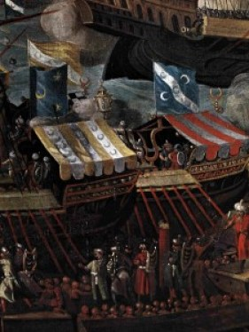 This detail view from a wider canvas shows the character of the galleys of the late 16th century Ottoman fleet. Note the way they are packed with soldiers (or marines as they would later be called). The Ottomans placed too much reliance on manpower, not enough on cannon: they were heavily outgunned at the Battle of Lepanto in 1571. Image: WIPL.
