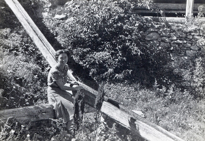 Churchill's 'favourite spy', Krystyna Skarbek sits by a water duct near a bridge she had helped to blow up during her work with the Resistance in France, 1944.