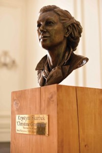 Skarbek commemorated in a bronze bust by artist Ian Wolter at Ognisko Polskie – the Polish Hearth club, in South Kensington.