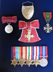Skarbek's medals, including the French Croix de Guerre and the British George Medal.