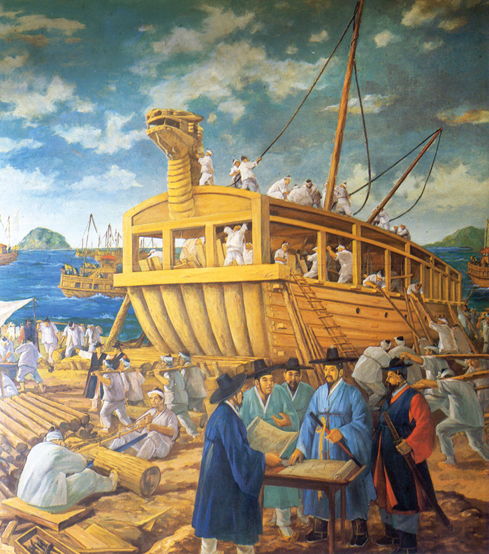 Painting showing the building of the 'Turtle Ship'.