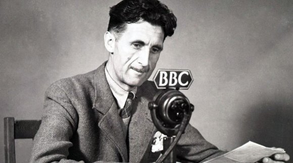 Photograph of Orwell as a reporter for the BBC.