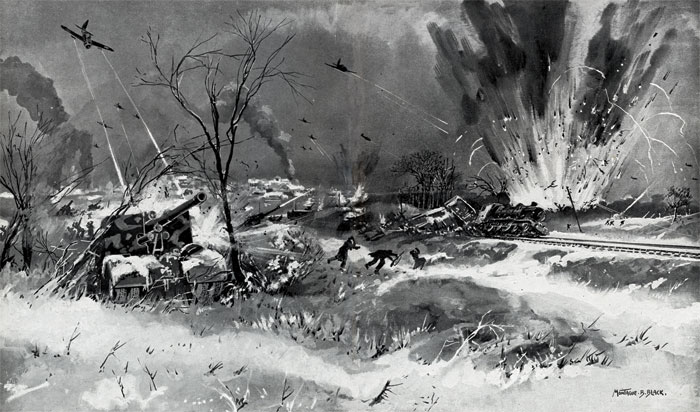 Black and white illustration showing Allied airpower striking German positions around Bastogne.