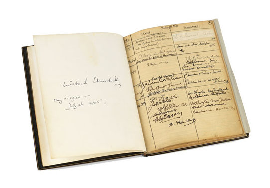 Visitor book from Churchill's War Rooms. [Photo credit: IWM]