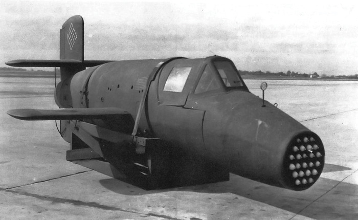 A black-and-white photo of an odd-looking Nazi 'super-weapon' - the Bachem 'Natter.'