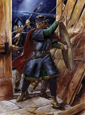 Colour illustration depicting Vikings storming into a building.