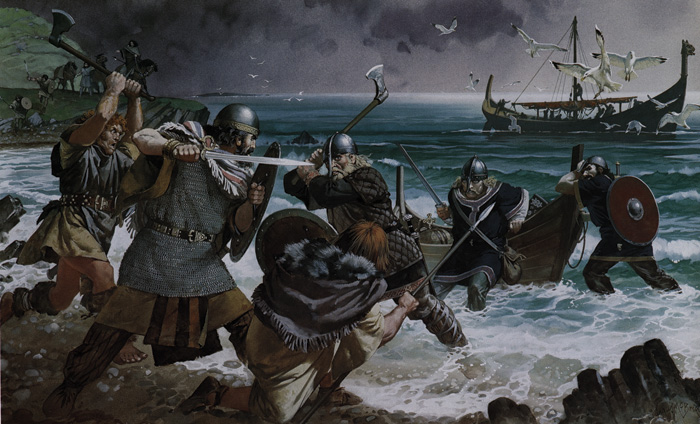 Colour illustration of Irish warriors meeting Viking invaders in the early 11th century AD.