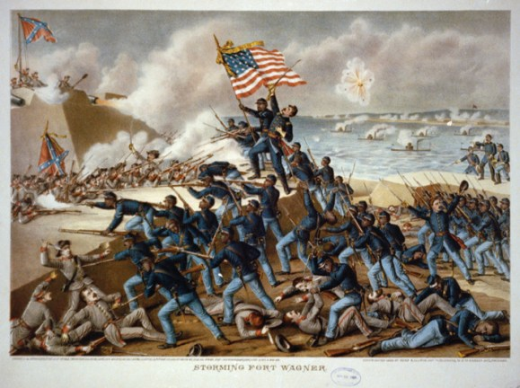 The 54th Massachusetts Regiment storms Fort Wagner. Chester worked as a recruiter for the regiment before becoming a war correspondent.