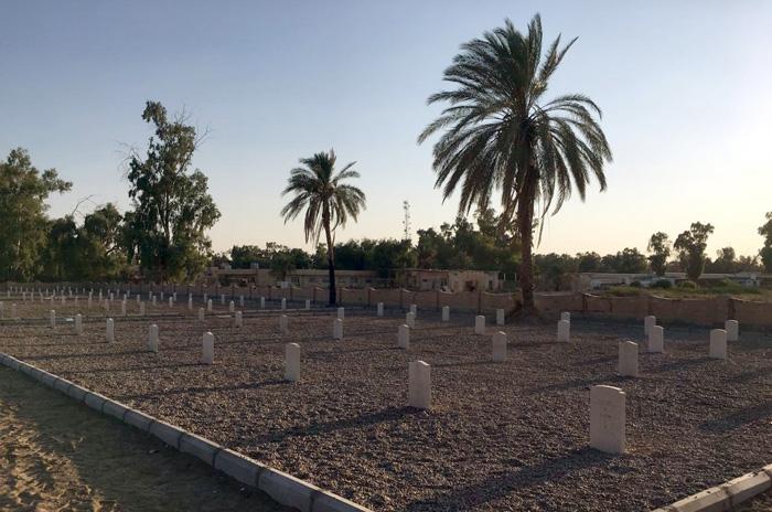 New headstones at CWGC's Habbaniya War Cemetery in central Iraq.