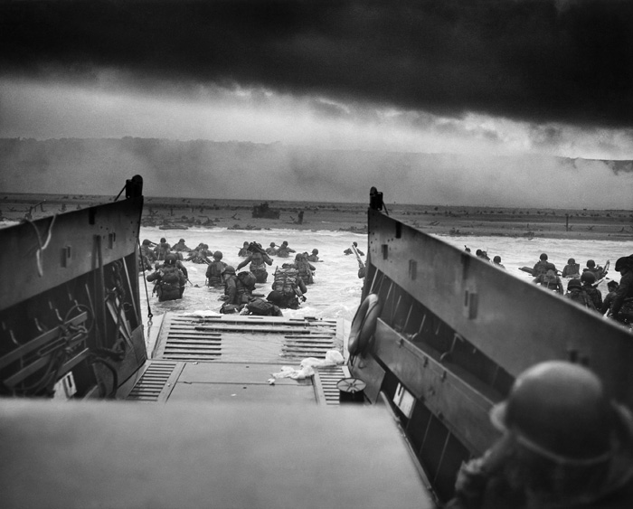 Assault craft land at Omaha Beach in Normandy on D-Day, 1944
