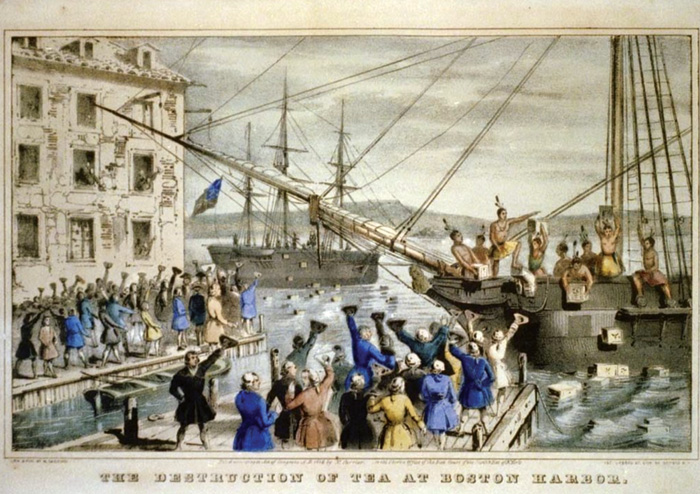 The Boston Tea Party, when American Patriots threw shipments of tea from the British East India Company into the sea at Boston Harbor in protest at harsh taxation, was a key event that sparked the American Revolutionary Wars.