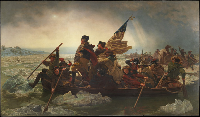 Perhaps the most famous painting of Washington: Washington Crossing the Delaware by German-American artist Emanuel Leutze in 1851. It was executed in the Romantic-heroic style typical of much 19th-century military art. Washington's bold military strike – wholly unexpected in winter – did much to restore the morale of America's revolutionary forces after their defeat at New York in the autumn of 1776.