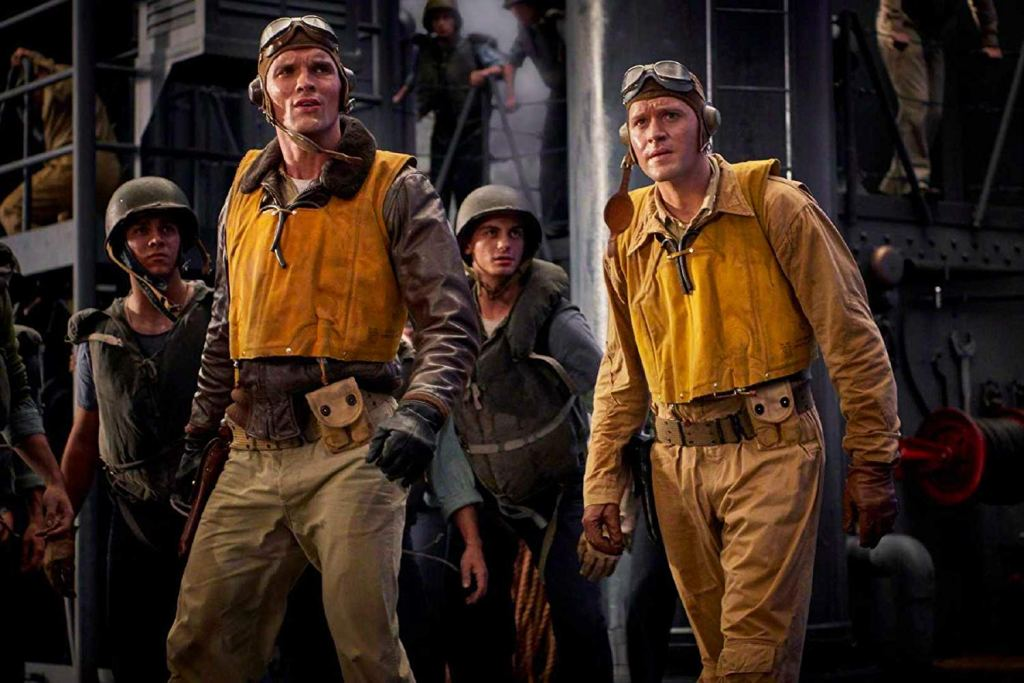 Luke Kleintank as Lieutenant Clarence Earle Dickinson and Ed Skrein as Lieutenant Richard 'Dick' Best in the latest version.