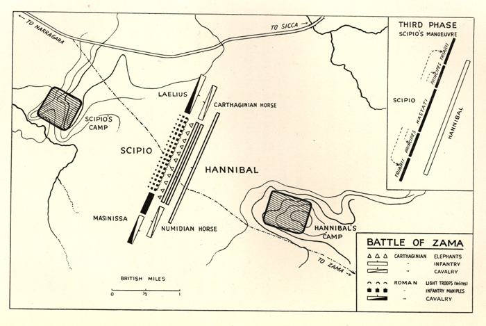 Plan of the Battle of Zama, 202 BC,  showing the initial deployments and  (inset) the final phase.