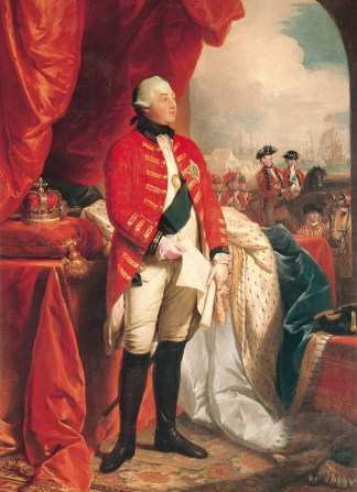 George III by Benjamin West, 1779 (depicted holding a paper recording troop positions.) Image: Royal Collection Trust.