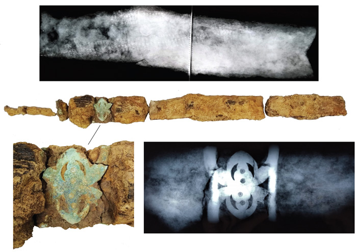 X-rays have revealed the decorated nature of the sword and scabbard. Image: Archaeology South-East.