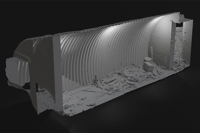 A digitised image of the remains of the bunker. It was used by an Auxiliary Unit during World War II.