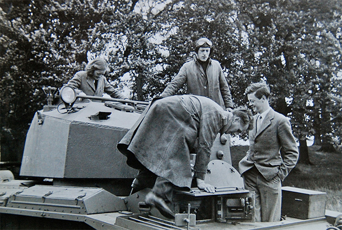 Lady Rosemary (far left) and the 11th Duke (far right) clamber aboard one of the prototypes. Image: Blenheim Palace.