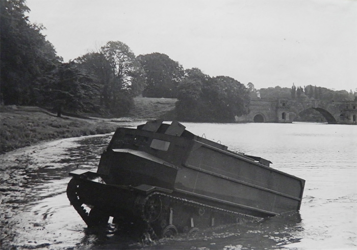 One of the two landing craft emerging from Blenheim Palace lake during testing. Ultimately, neither saw action on D-Day.