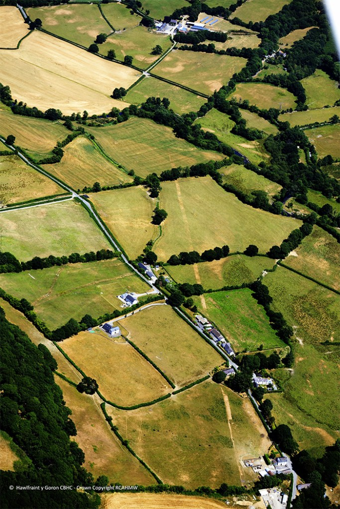 he remains of a Roman road can be seen here, running through the countryside near Lampeter, Ceredigion.