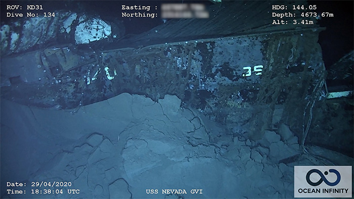 The stern of the wreck is painted with numbers dating from her period as a test ship. Nevada proved difficult to sink. Image: Ocean Infinity/SEARCH, Inc.