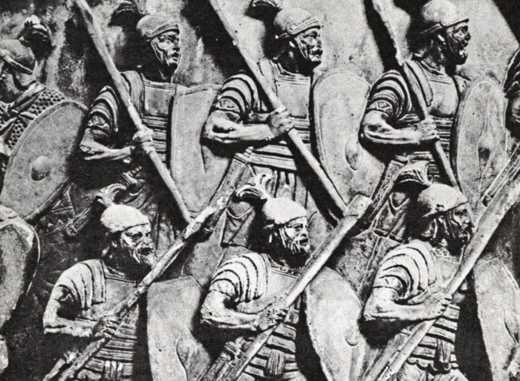Roman auxiliaries as depicted on the Column of Marcus Aurelius in Rome. The sculptor has managed to convey the highly drilled, disciplined, machine-like character of the Roman Army in battle. Image: WIPL.