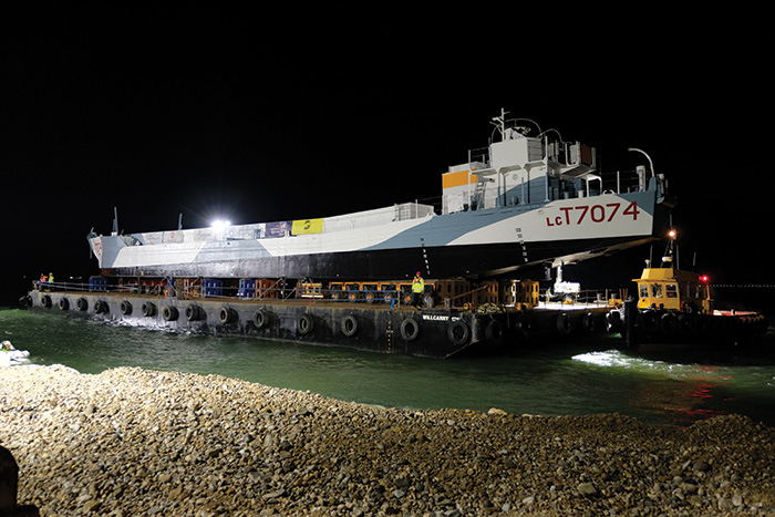 The LCT 7074, which took part in the D-Day landings, being moved to its new home in Southsea in August following restoration.