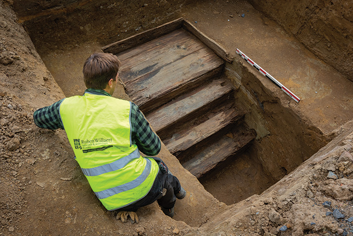 The remains of a staircase leading to the bunker at Wijtschate. The site dates from the Battle of Messines of 1917
