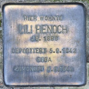 Henoch's Stolperstein outside her one-time home in the suburbs of Berlin. In 1942, Henoch and her mother Rose were deported from Germany to Latvia, where they were killed.