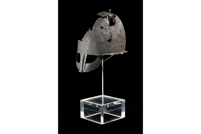 The artefact is one of only two near-complete Viking helmets in the world.  Image: Preston Park Museum.