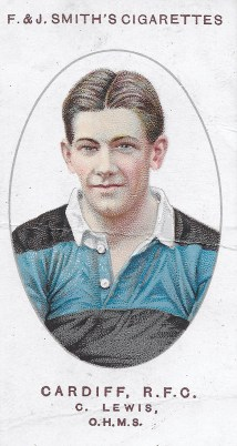 A cigarette card featuring Lewis from the 1913-14 season. Despite being gassed, Lewis remained fit enough to play his favourite game after the war.