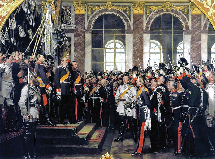 In a carefully choreographed ceremony, Prussian Chancellor Otto von Bismarck had King William I of Prussia crowned German Emperor in the Hall of Mirrors at Versailles on 18 January 1871.