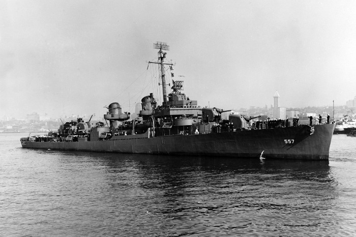 USS Johnston in Seattle in October 1943, a year before her sinking.