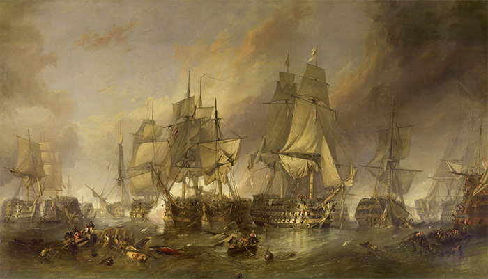 The Battle of Trafalgar (1836) by William Clarkson Stanfield. The artist has chosen to depict the duel between HMS Victory, HMS Temeraire, and, between them, the French ship Redoubtable.