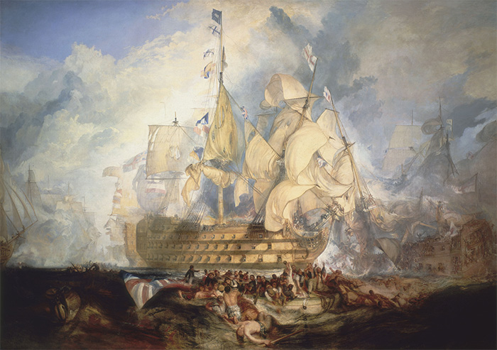Detail from J M W Turner's 1822 painting of Trafalgar. Nelson had sought the battle for two years, and he knew full well what the outcome would be.