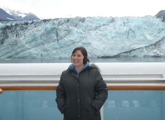 Becca standing in front of the Harvard Glacier.