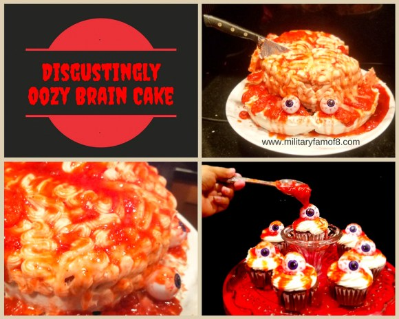 Disgustingly Oozy Brain Cake- Halloween Cake. With step-by-step instructions and a video with the end result, there is no way you can get this cake wrong! You will Definitely be voted the coolest & creepiest house in your town! Creepy Halloween Cake.