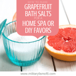 How to Make Grapefruit Bath Salts for a Home Spa or DIY Favors. This post contains the easiest and best way to make bathsalts at home, add essential oils to make your favorite scented bath salts. They are perfect for gifts and party favors.