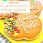 How to Make Beautiful Pumpkin Harvest Cookies. This is a super easy and quick recipe for Fall cookies. The script and sprinkles give these cookies a gourmet look!