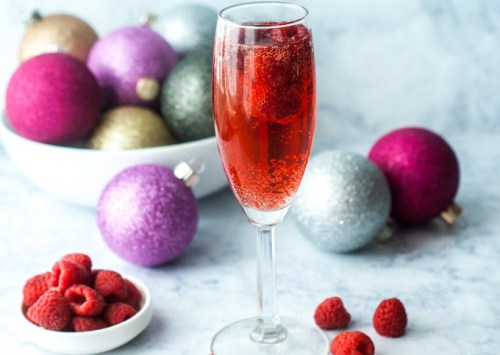 Low Carb Holiday Raspberry Mimosa Ultimate List of Holiday Cocktail & Mocktail Recipes